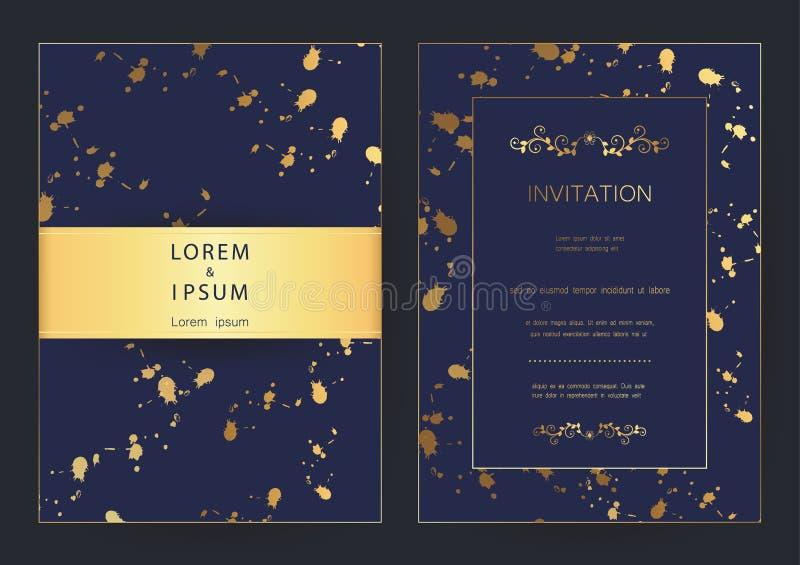 O casamento dourado moderno luxuoso, convite, celebração, cumprimento, felicitações carda o molde do fundo do teste padrão ilustração royalty free
