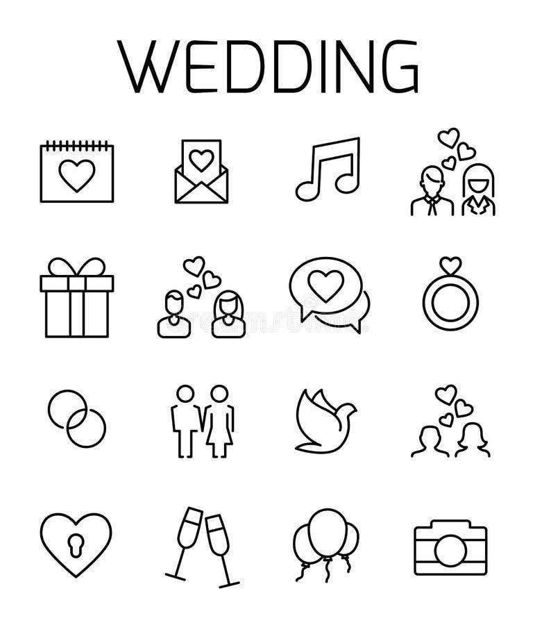 O casamento relacionou o grupo do ícone do vetor ilustração stock