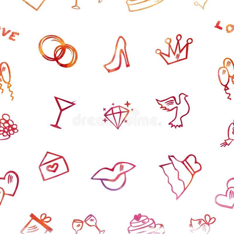 O casamento remenda a ilustração, teste padrão sem emenda ilustração stock