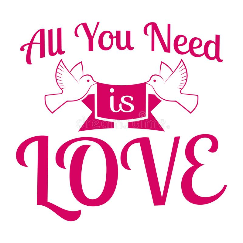 O casamento/tudo que você precisa é amor/etiqueta/crachá ilustração do vetor