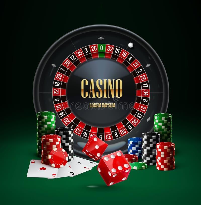 O casino da roleta lasca objetos realísticos dos dados vermelhos ilustração royalty free