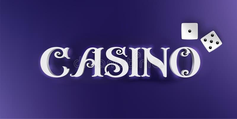 O casino do vetor assina dentro o estilo 3d no fundo azul Projeto da bandeira das letras do casino com dados do pocker ilustração do vetor