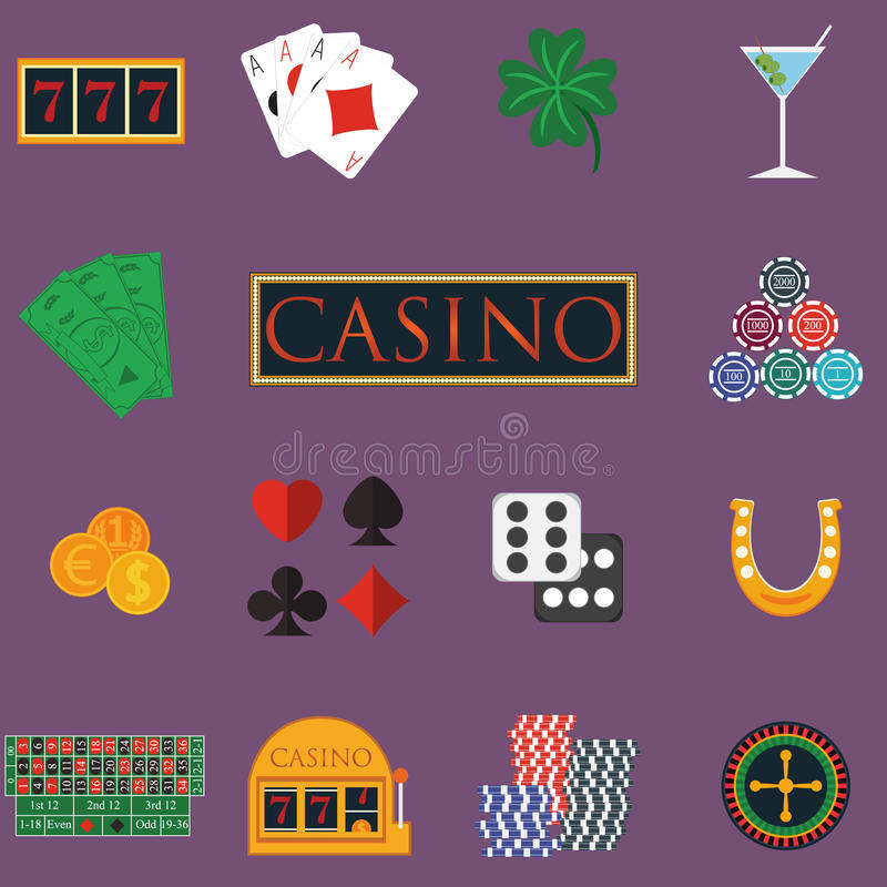 O casino e os ícones de jogo ajustaram-se com slot machine e roleta, microplaquetas, cartões do pôquer, dinheiro, dado, moedas, v ilustração do vetor