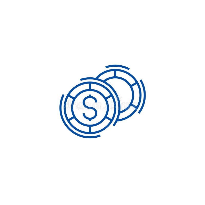 O casino, jogos de mesa alinha o conceito do ícone Casino, símbolo liso do vetor dos jogos de mesa, sinal, ilustração do esboço ilustração do vetor