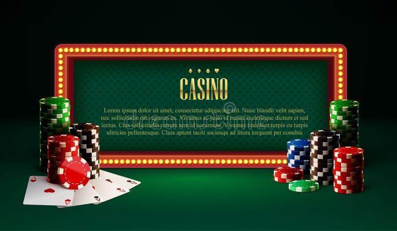 O casino lasca a bandeira e os cartões do vintage da lâmpada ilustração stock