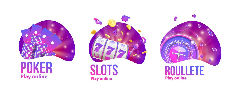O casino objeta o lugar do logotipo para o texto ilustração stock