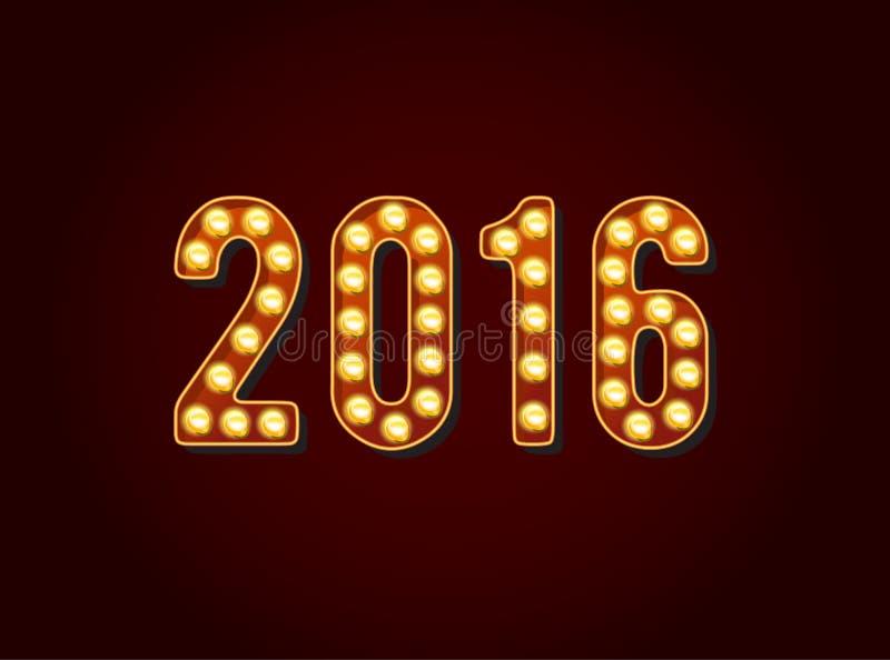 O casino 2016 ou Broadway assinam dígitos ou números da ampola do estilo ilustração stock