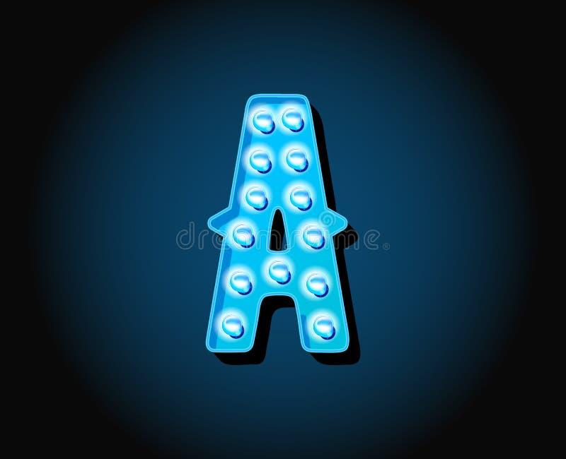 O casino ou Broadway assinam a letra de néon do alfabeto da ampola do estilo ilustração do vetor