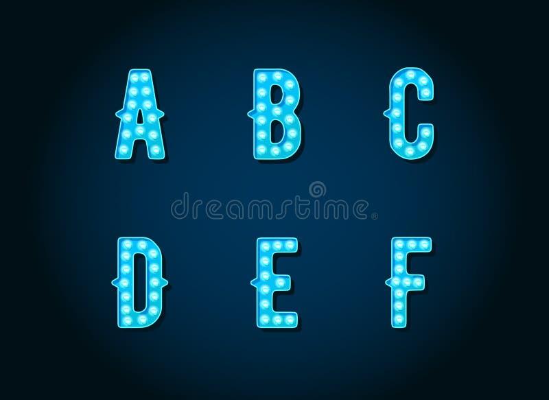 O casino ou Broadway assinam letras azuis do alfabeto da ampola do estilo ilustração do vetor