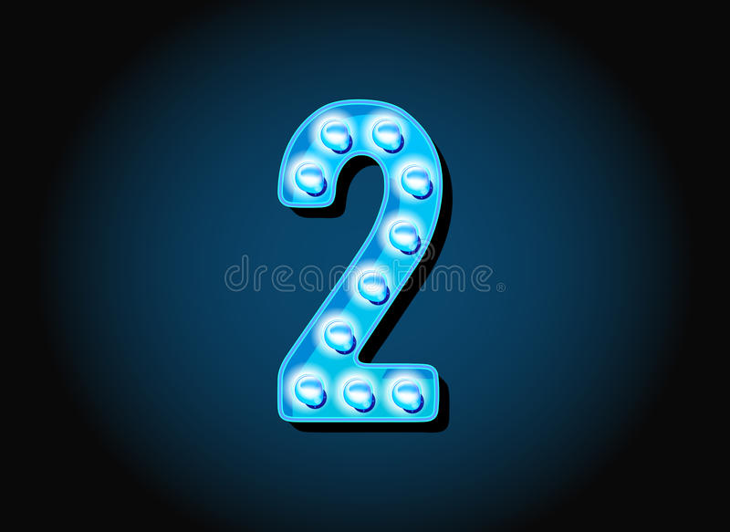 O casino ou Broadway assinam números dos dígitos da ampola do estilo ilustração royalty free