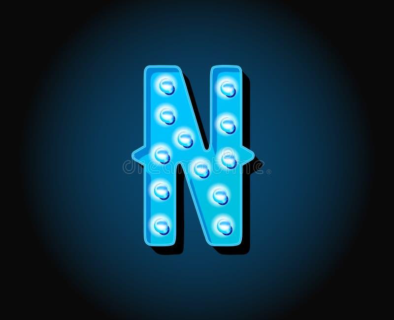 O casino ou Broadway assinam o alfabeto de néon da ampola do estilo ilustração royalty free