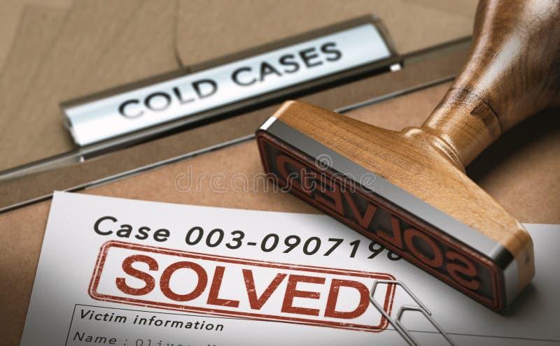 O caso arquivado resolvido, arquiva fechado ilustração royalty free