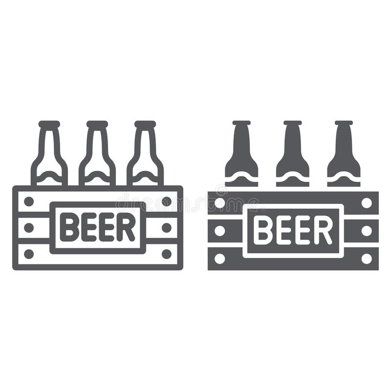 O caso da linha da cerveja e do ícone do glyph, o álcool e a bebida, bloco de garrafas de cerveja assinam, os gráficos de vetor,  ilustração stock