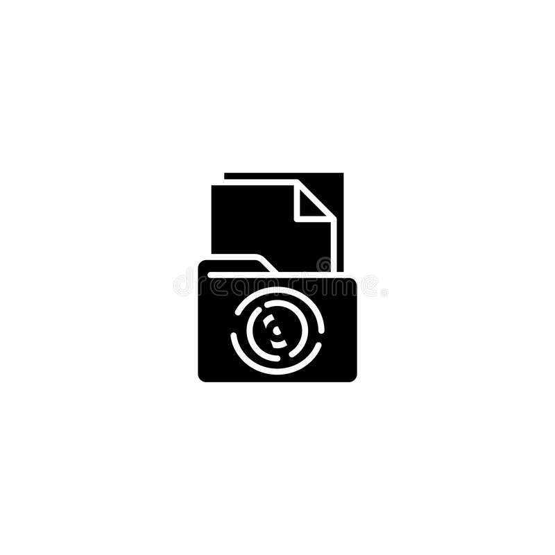 O caso documenta o conceito preto do ícone Encaixote o símbolo liso do vetor dos originais, sinal, ilustração ilustração do vetor