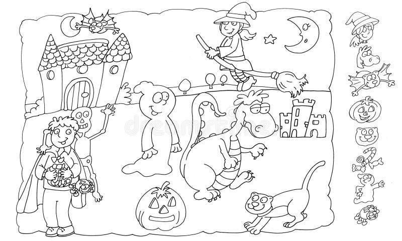 O castelo coloração do lombo do medo e dos esqueletos e dos fantasmas das crianças para crianças para livros e administrações da  ilustração do vetor