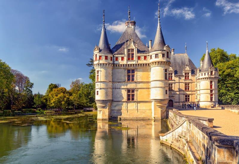O castelo de Azay-le-Rideau, castelo em França fotografia de stock