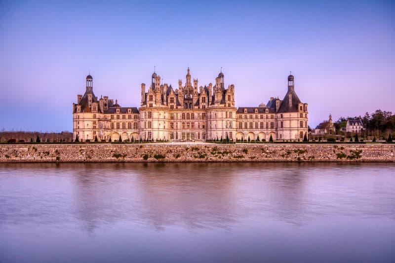 O castelo de Chambord no por do sol, castelo do Loire, França fotos de stock