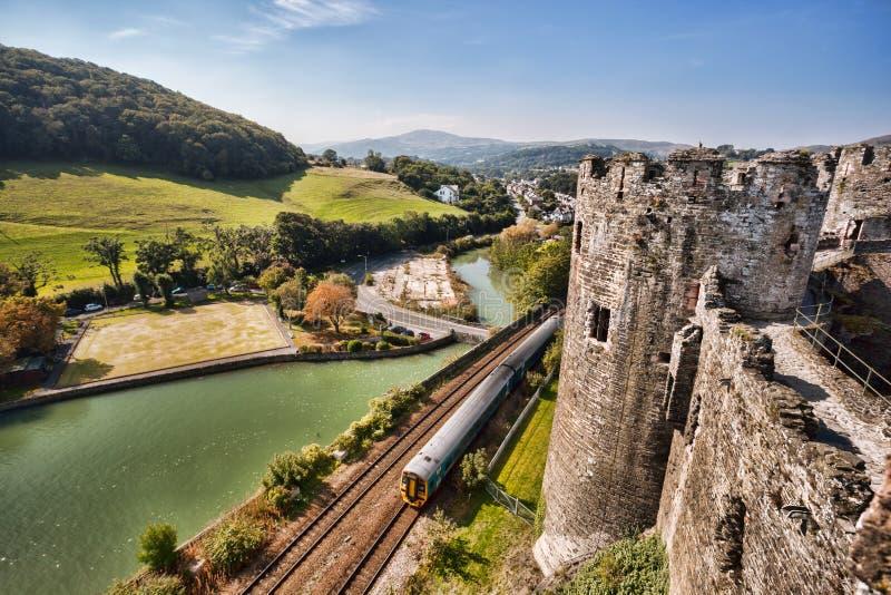O castelo de Conwy em Gales, Reino Unido, série de Walesh fortifica fotos de stock