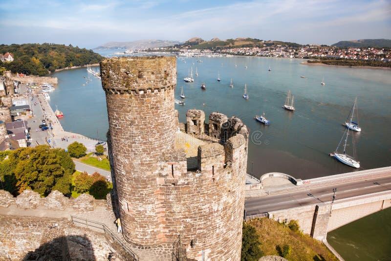 O castelo de Conwy em Gales, Reino Unido, série de Walesh fortifica imagens de stock