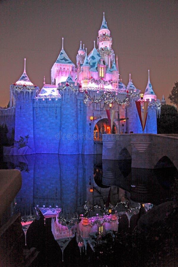 O castelo de Disneylândia na noite imagem de stock royalty free
