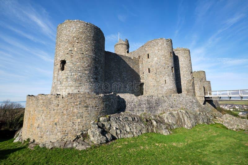 O castelo de Harlech em Gales norte imagem de stock royalty free