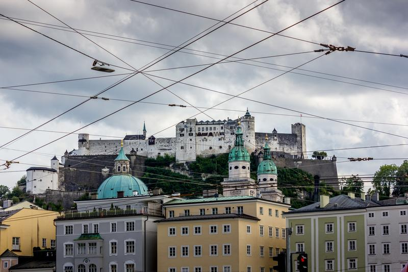 O castelo de Salzburg fotos de stock