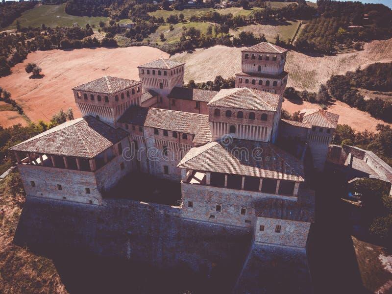O castelo de Torrechiara em Parma Itália foto de stock royalty free