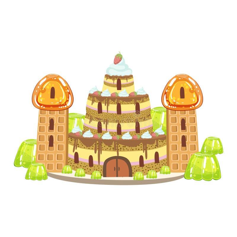 O castelo do bolo de aniversário com waffle eleva-se elemento doce da paisagem da terra dos doces da fantasia ilustração royalty free