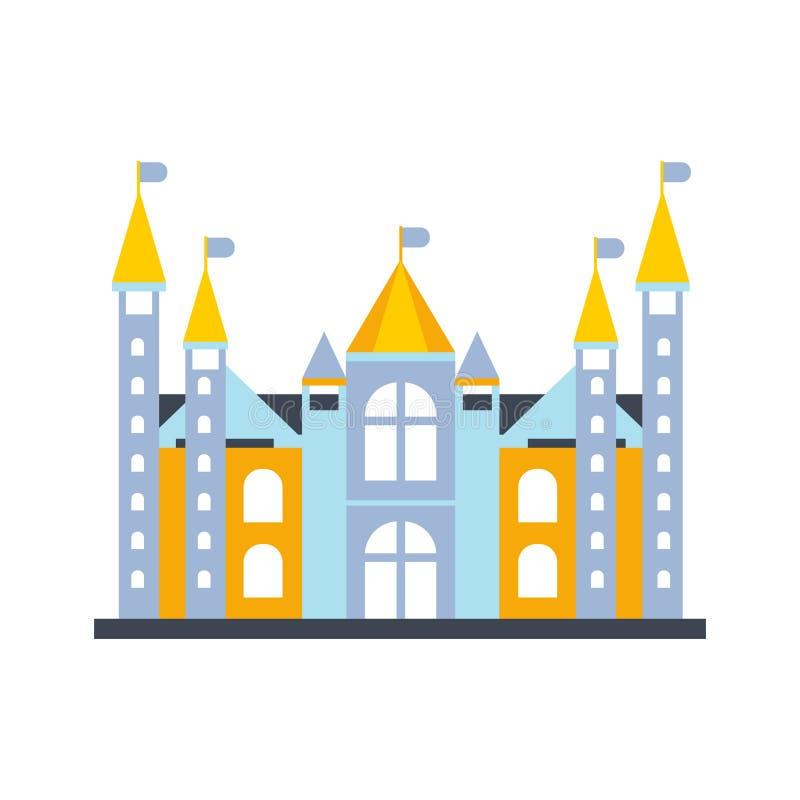 O castelo do conto de fadas colorido ou a construção real do palácio com bandeiras vector a ilustração ilustração stock