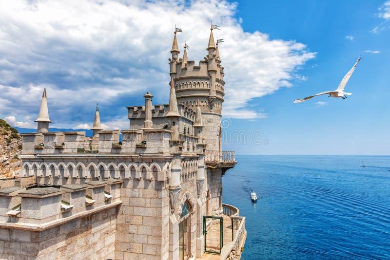 O castelo do ninho da andorinha em Gaspra, Crimeia, Ucrânia fotografia de stock
