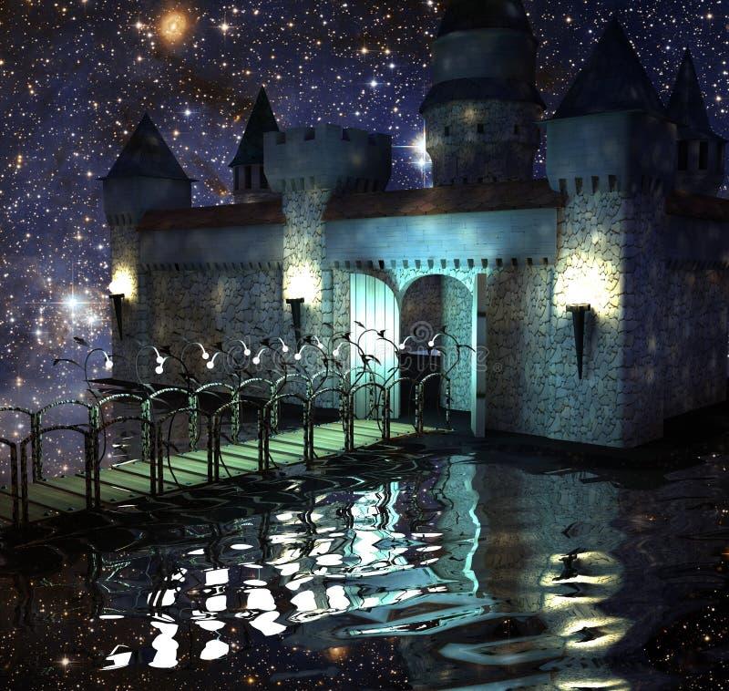 O castelo fantástico no lago no céu nocturno ilustração royalty free