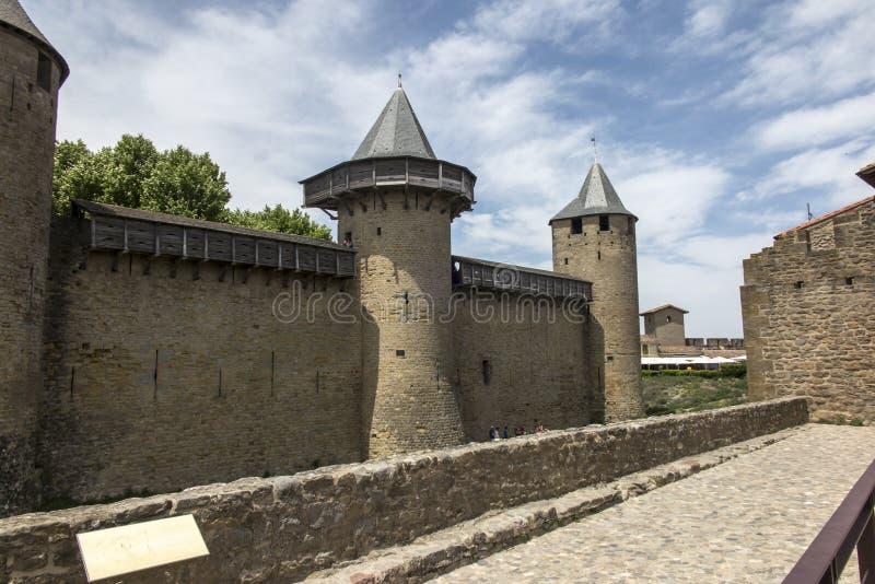 O castelo fortificado de Carcasson é um patrimônio mundial da UNESCO imagem de stock