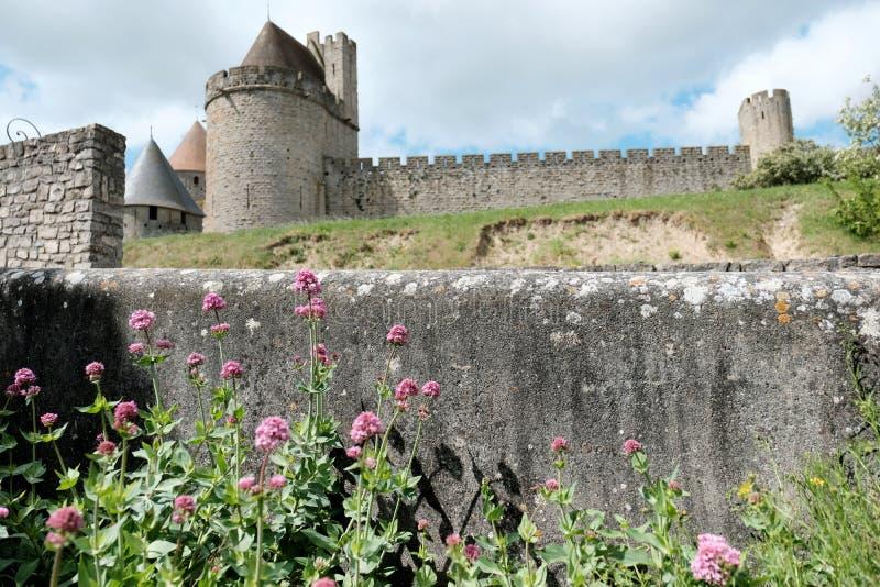 O castelo medieval de Carcassonne no sul de França no verão imagens de stock