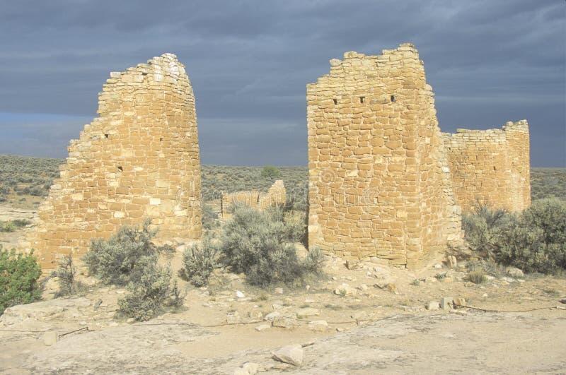 O castelo nas ruínas indianas do monumento nacional de Hovenweep, UT fotografia de stock