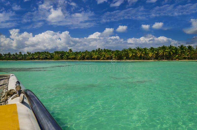 O catamarã navega entre a água dos azuis celestes, o céu azul e as palmas imagem de stock royalty free
