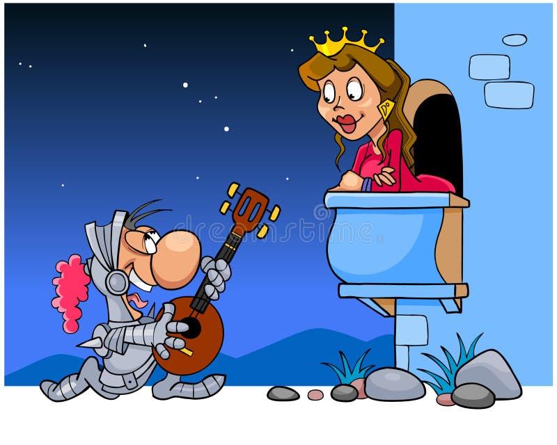 O cavaleiro canta uma serenata sob o balcão ilustração royalty free