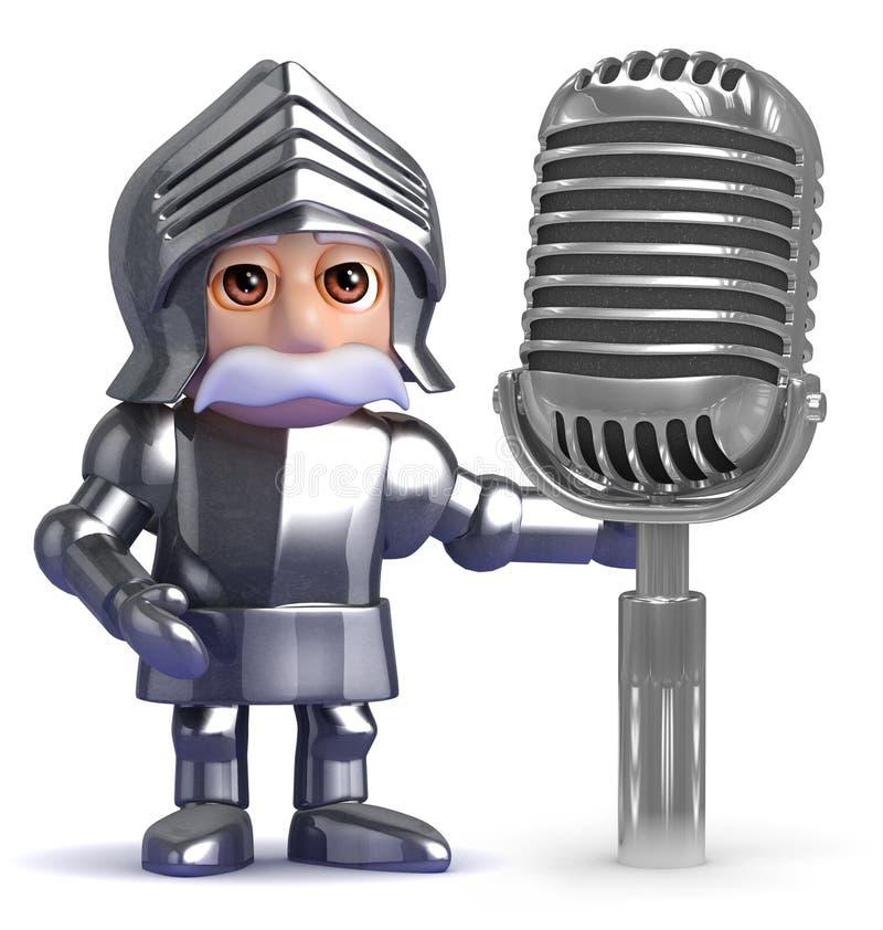 o cavaleiro 3d usa um microfone velho ilustração stock