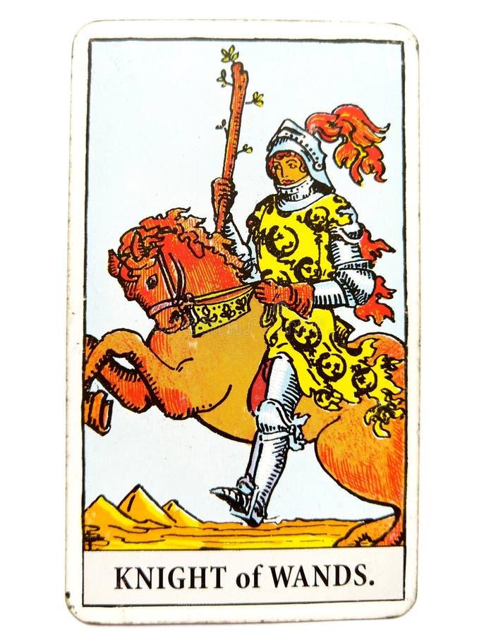 O cavaleiro da chegada repentina do cartão de tarô das varinhas grande nos começos nenhuns segue com a liberdade pessoal dos proj ilustração do vetor