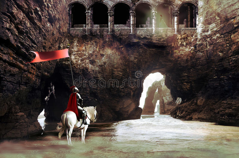 O cavaleiro e a princesa ilustração do vetor
