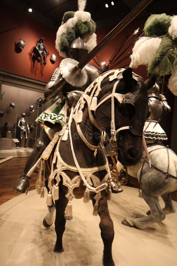 O cavaleiro Jousting a cavalo imagens de stock