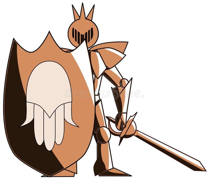 O cavaleiro medieval estilizado com mão de Fatima isolou-se ilustração do vetor