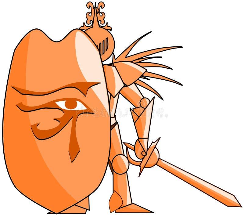 O cavaleiro medieval estilizado com o olho de Rha isolou-se ilustração stock