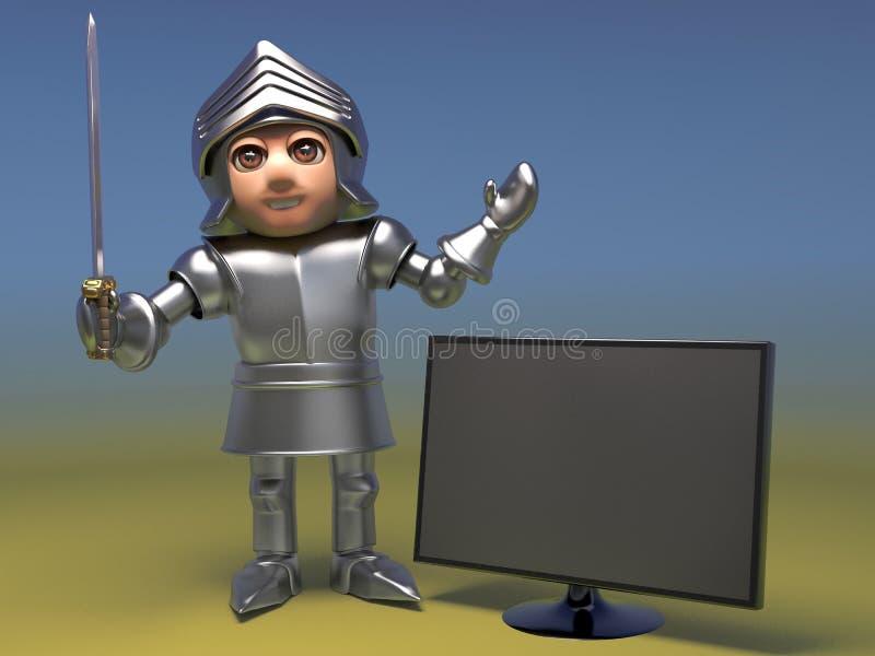 O cavaleiro medieval frívolo compra um monitor novo da televisão do tela panorâmico, ilustração 3d ilustração stock