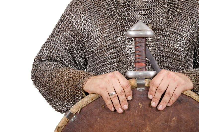 O cavaleiro normando vestiu metade do guerreiro a ?a do século XI do te fotos de stock