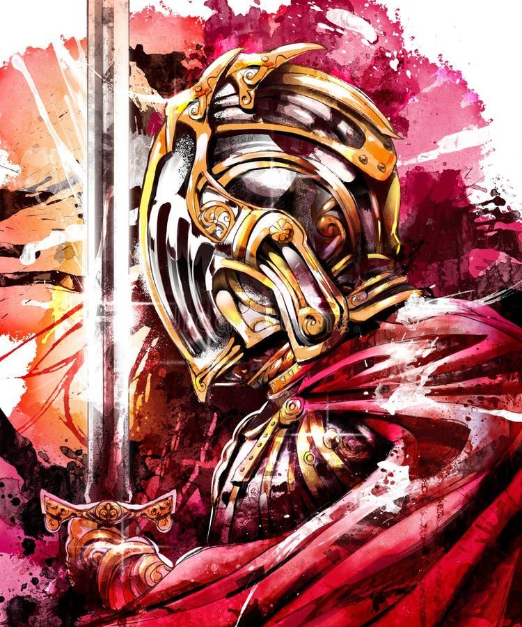 O cavaleiro reza antes da batalha ilustração royalty free