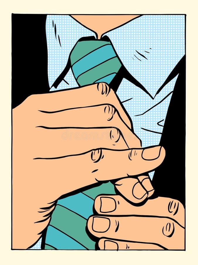 O cavalheiro endireita o laço ilustração do vetor
