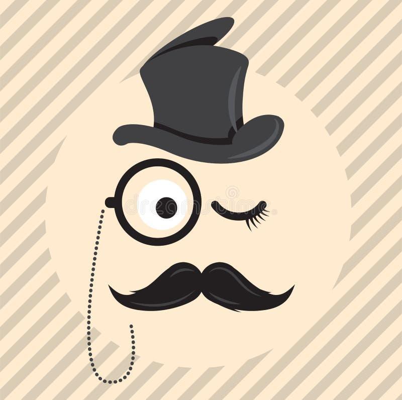 O cavalheiro retro, do vintage em um cilindro do chapéu com bigode e o ícone do monóculo na luz coloriram o fundo ilustração do vetor