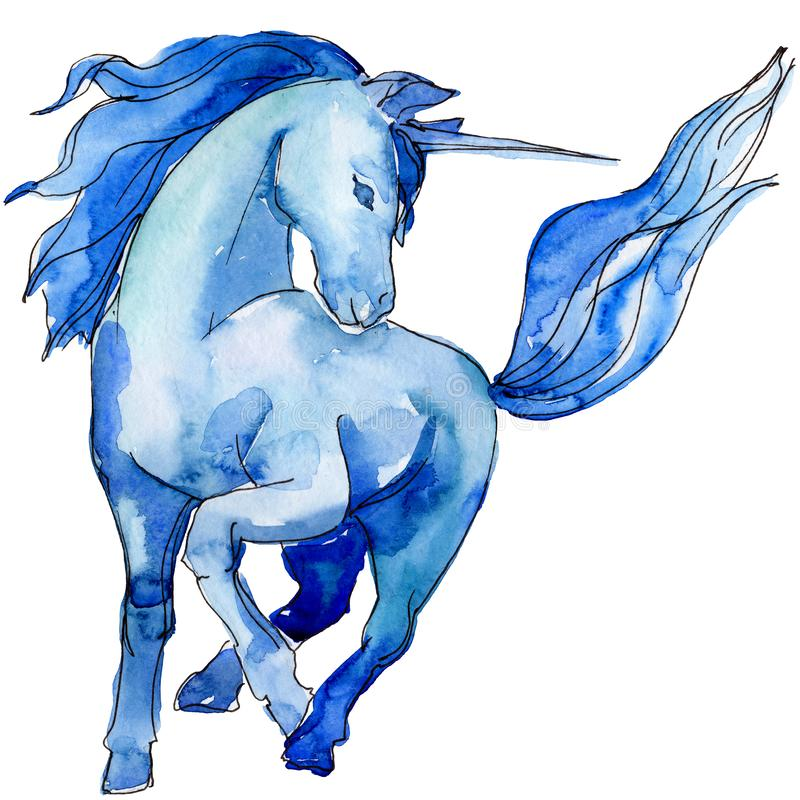 O cavalo azul bonito do unicórnio isolou-se Grupo branco da ilustração do fundo Sonho doce das crianças do conto de fadas ilustração stock