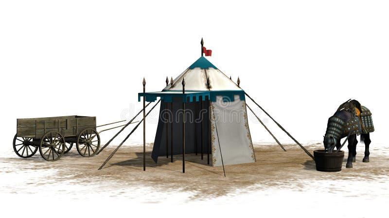 O cavalo, a barraca medieval e o carro de madeira velho em uma areia surgem ilustração royalty free