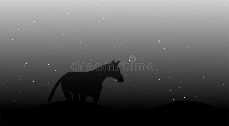O cavalo com silhueta da montanha é uma ilustração do vetor com estrela de brilho fotografia de stock